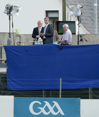 Pat Spillane, Colm O'Rourke and Michael Lyster look on