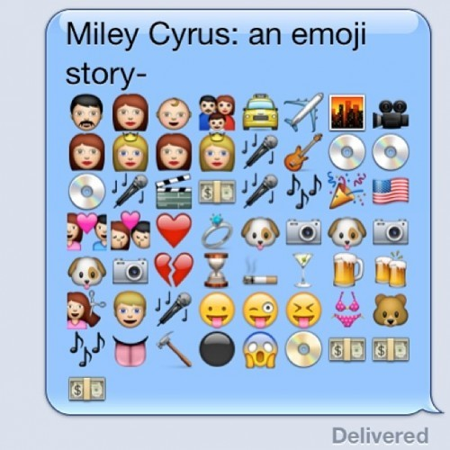 My boyfriend wrote the biography of Miley Cyrus in emoji - Imgur