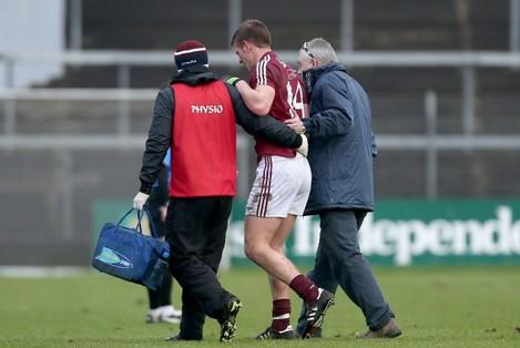 John Heslin goes off injured