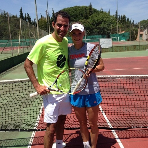 Good practice with @danihomedes aka Pete Sampras today!