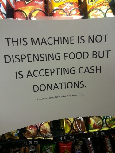 Someone replaced the out of order sign on the vending machine at work. - Imgur
