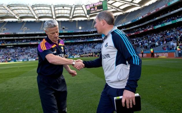 Jim Gavin and Aidan O'Brien shake hands after the game