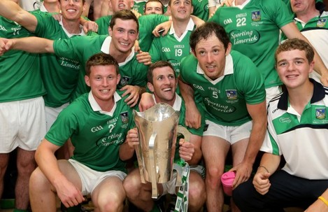 The Limerick team celebrate in the dressing room after the game