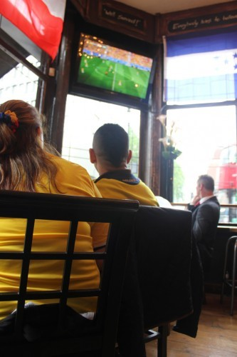 Colombian supporters watching group game vs Ivory Coast, in Northumberland Arms, London