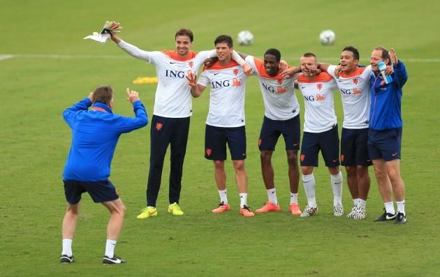 Soccer - FIFA World Cup 2014 - Quarter Final - Netherlands v Costa Rica - Netherlands Training and Press Conference - Estadio Jose Bastos Padilh