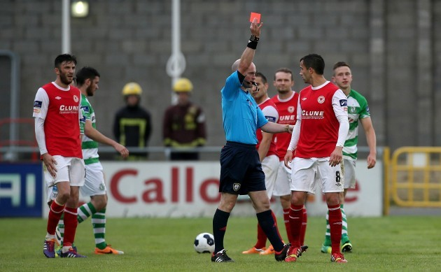 Keith Fahey is shown a straight red card by Padraig Sutton