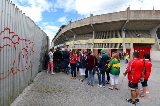 Cork and Kerry supporters queue to enter Pairc Ui Chaoimh