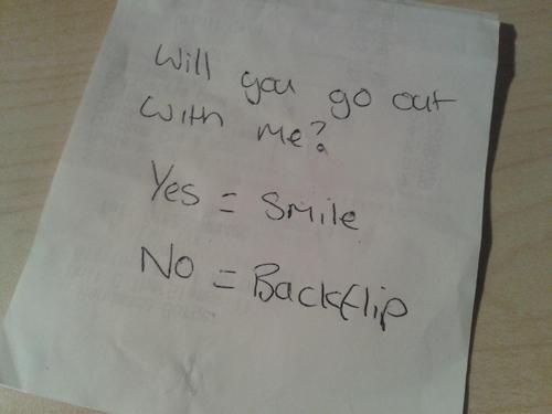 Confirm. And how to ask a girl out nicely