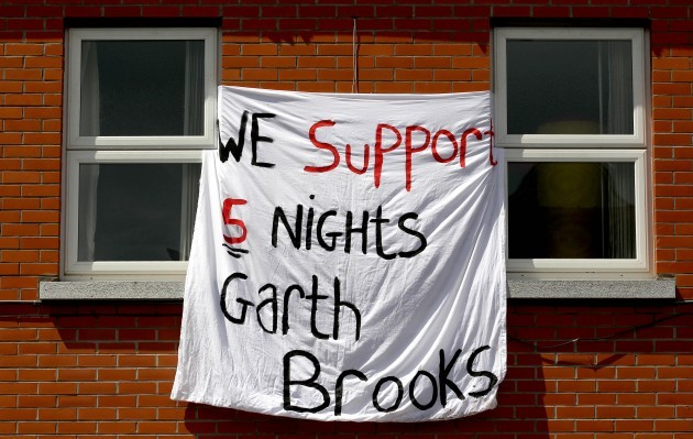 Signage in support of the Garth Brooks gigs