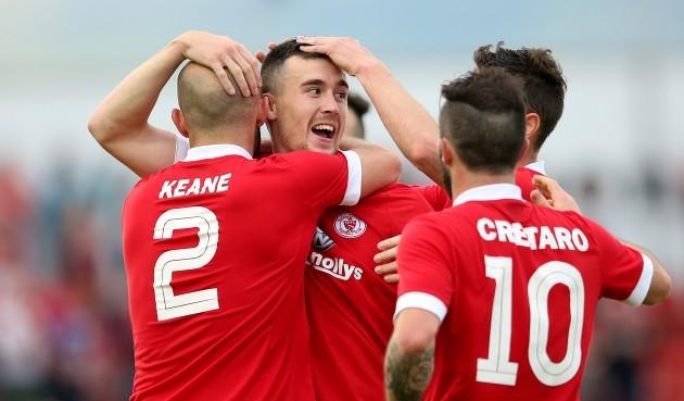 Aaron Greene celebrates scoring his sides second goal