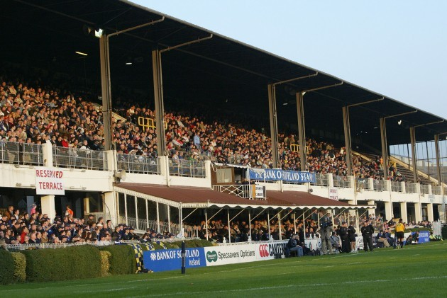 General view of the fans at the RDS