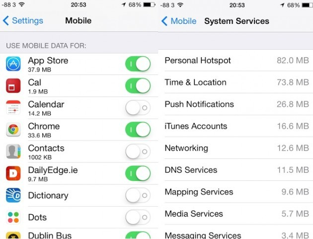iPhone mobile data settings