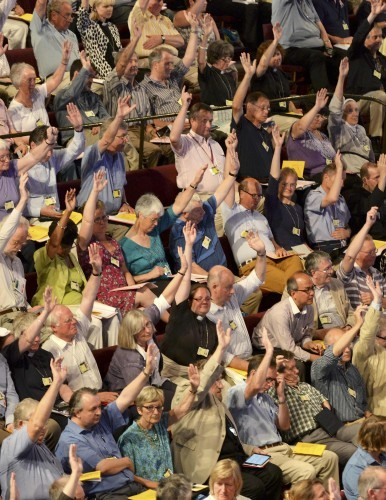 Members of the Church of England's Synod vote on one of the motions during the session which approved the consecration of women bishops, in York