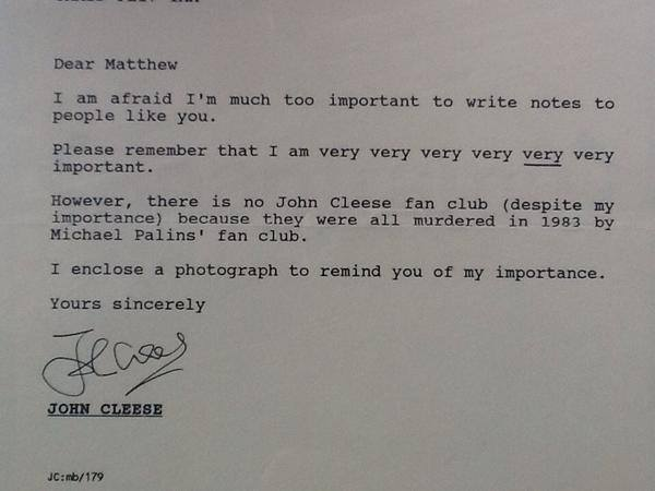 14-year-old boy wanted to know if John Cleese had a fan club. This was his reply. - Imgur