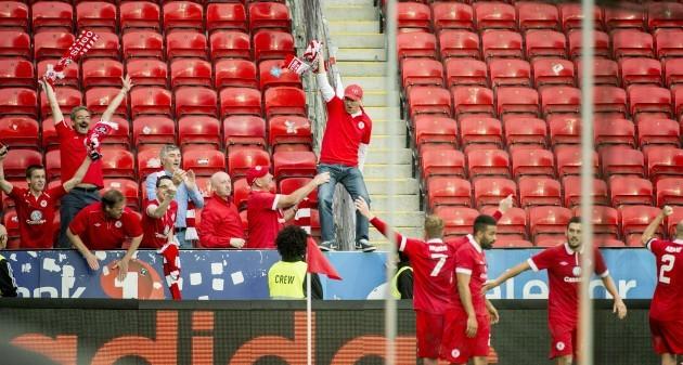Danny North celebrates scoring Sligo's second goal with fans 17/7/2014