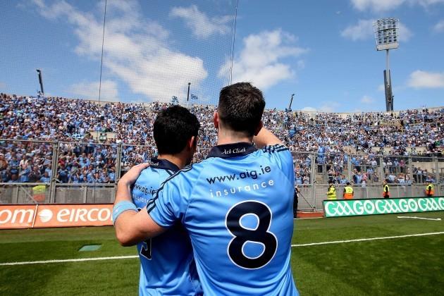 Cian OÕSullivan and Michael Darragh MacAuley celebrate after the game