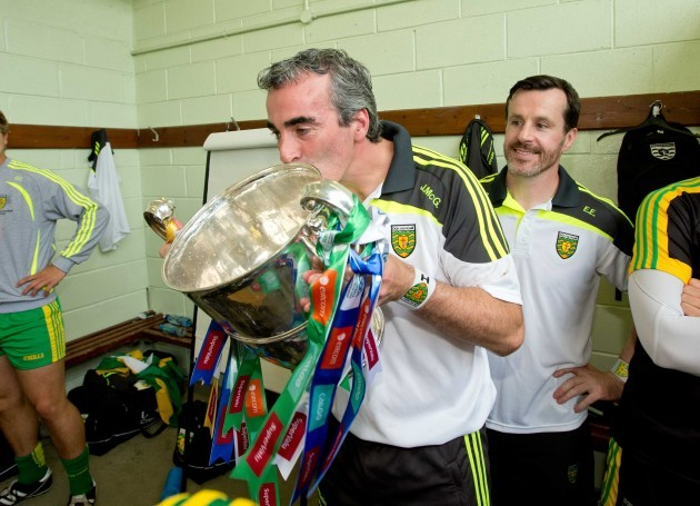 Jim McGuinness kisses the Anglo Celt Cup