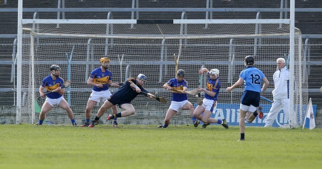 A penalty from Paul Ryan is saved by the Tipp defence