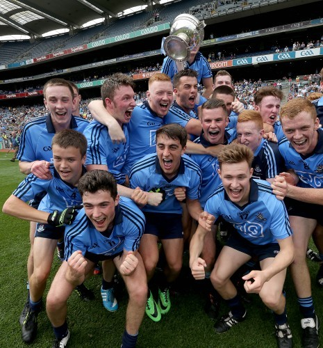 The Dublin minor team celebrate with the cup after the game