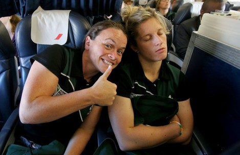 Jackie Shiels and Alison Miller on the flight to Paris this morning 27/7/2014