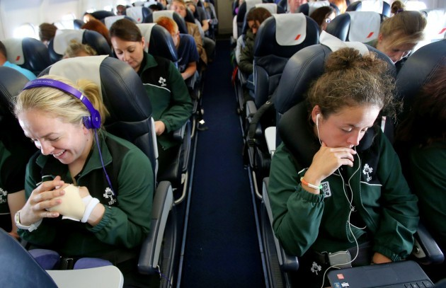 Niamh Briggs and Larissa Muldoon on the flight to Paris this morning 27/7/2014