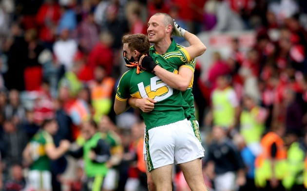 James OÕDonoghue and Kieran Donaghy celebrate at the final whistle