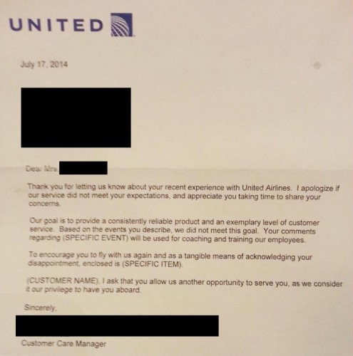 United Airlines writes the most sentimental apology letters. - Imgur