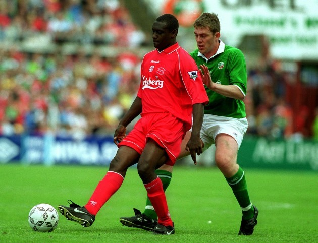 Emile Heskey and Richard Dunne 21/5/2000