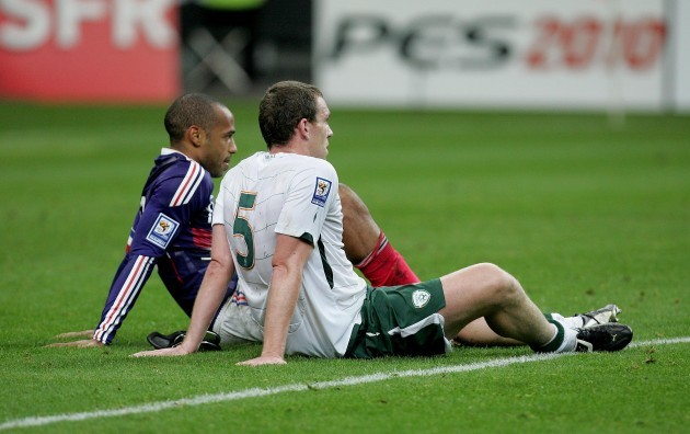 Theirry Henry and Richard Dunne after the game