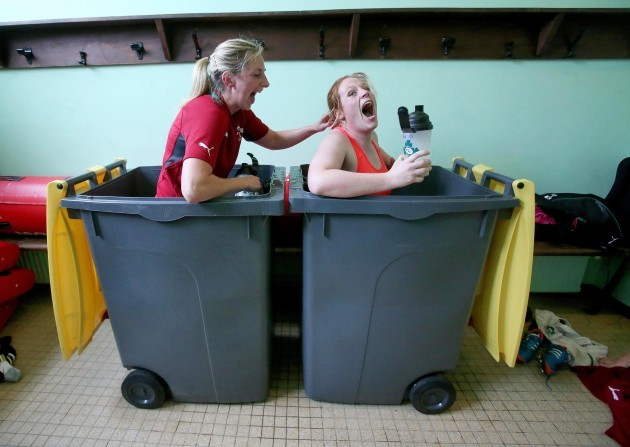 Siobhan Fleming and Fiona Hayes in the ice baths after training today 29/7/2014