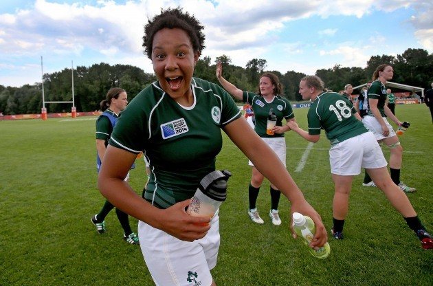 Sophie Spence celebrates after the game