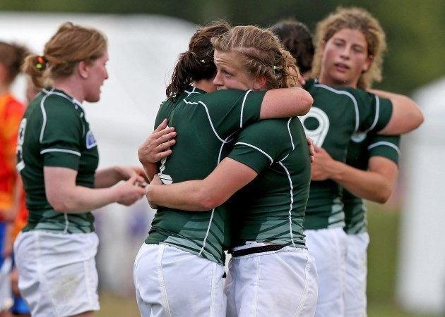 Nora Stapleton and Fiona Coghlan celebrate after the game