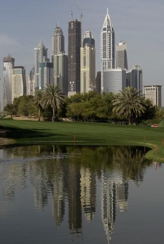 Mideast Emirates Dubai skyline