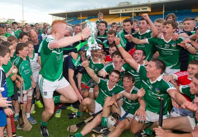 Limerick captain Cian Lynch celebrates with the team after winning the Munster GAA Hurling Minor Championship trophy