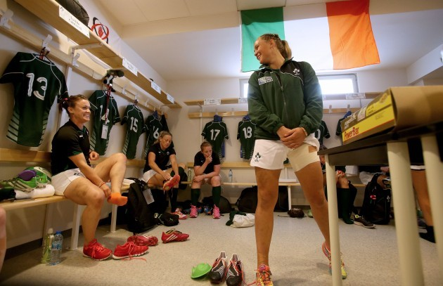 Lynne Cantwell and Ashleigh Baxter in the dressing room before the game