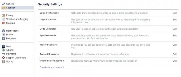 Security settings FB
