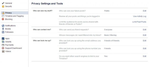 Privacy settings FB