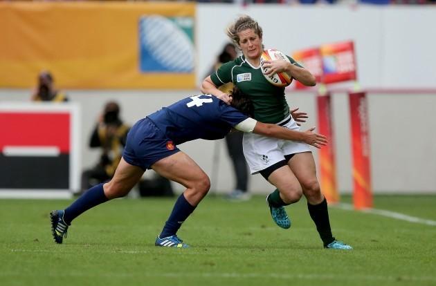 Alison Miller tackled by Shannon Izar