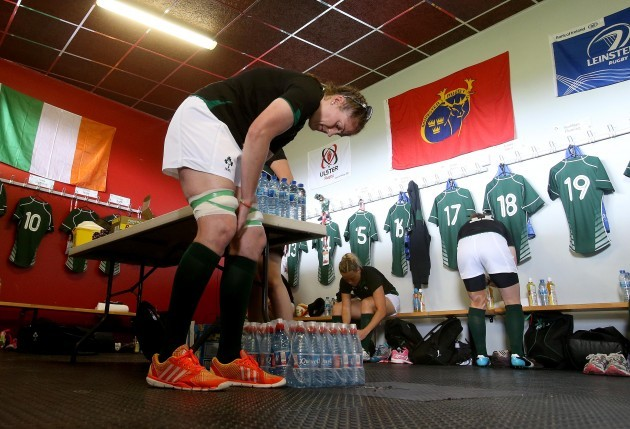 Fiona Coghlan in the dressing room before the game