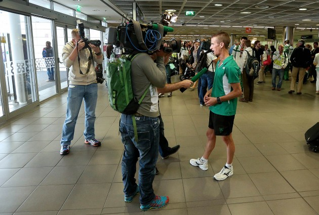 Rob Heffernan speaking to the media 18/8/2014
