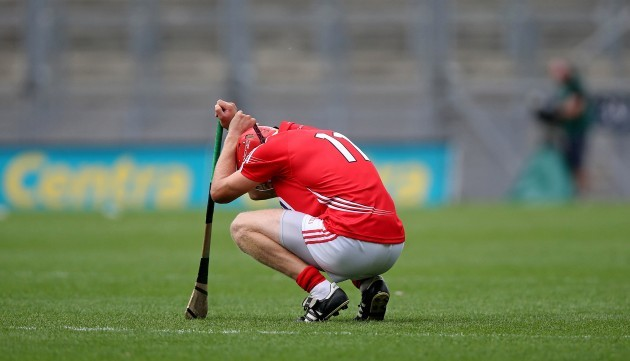 Bill Cooper dejected after Cork's defeat yesterday