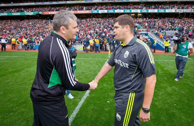 James Horan shakes hands with Eamonn Fitzmaurice after the game