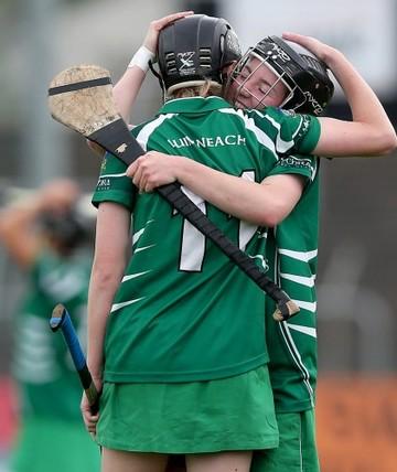 Niamh Mulcahy and Caoimhe Costello celebrate