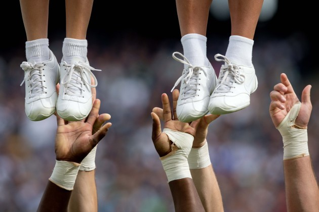 A general view of a University of Central Florida cheerleaders in Croke Park