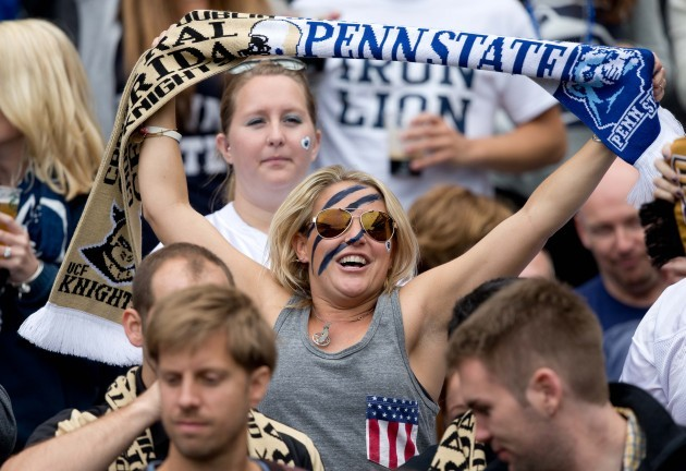 A general view of an American Football fan at the game