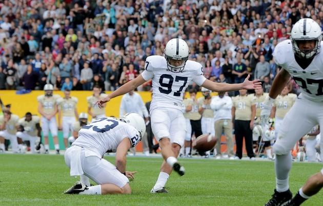 Sam Ficken kicks the winning goal
