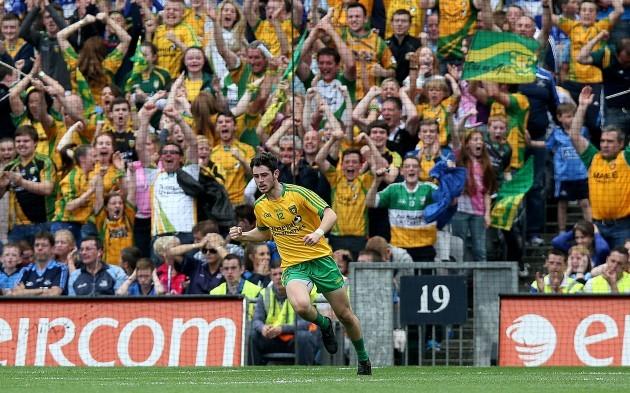 Ryan McHugh celebrates scoring his side's first goal