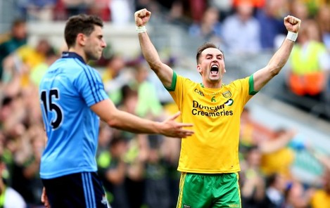 Karl Lacey celebrates at the final whistle