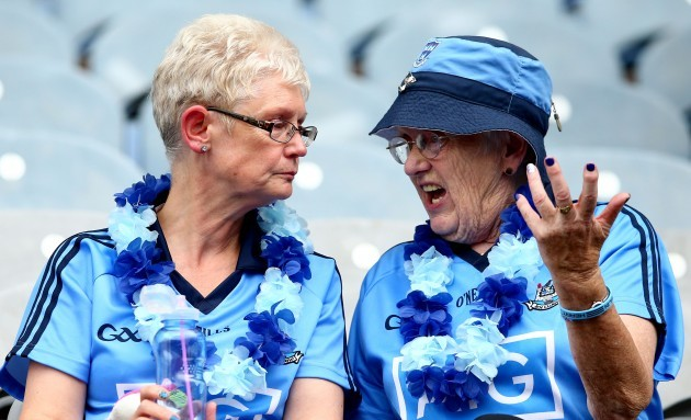 Two Dublin fans discuss the game at the final whistle