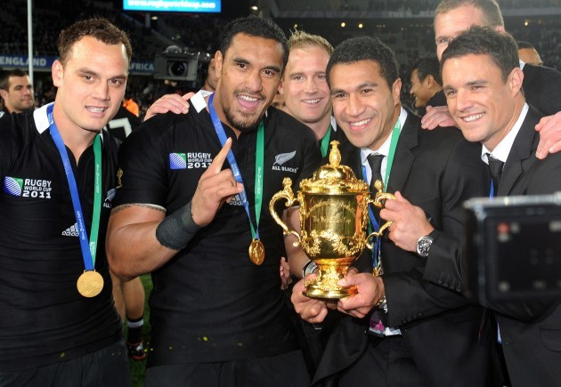 Israel Dagg, Jerome Kaino, Mils Muliaina and Dan Carter with the Webb Ellis Cup